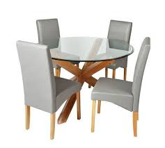 heart of house oakington round glass table 4 chairs choice of two colors