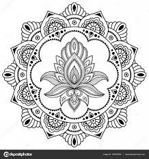 Kruhově V Podobě Mandala Henna Tetování Květiny šablona V Indickém
