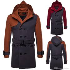 2018 plus size men trench coat winter mens long pea coat men wool overcoat double ted men trench coat with hooded j180766 from taotianlang