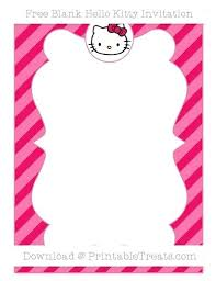 Hello Kitty Invitation Printable Free Ruby Pink Diagonal Striped Blank Hello Kitty Invitation