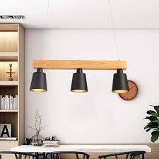 Led Pendelleuchte Esstisch Holz Hängeleuchte 3 Flammig Warmweiß Höhenverstellbar Esstischlampe Für Esszimmer Wohnzimmer Büro Cafe Restaurant Schwarz