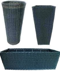 black garden pots large plastic extra rattan plant trough outdoor
