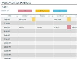 Class Timetable Template Classy Weekly College Schedule