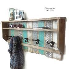 Reclaimed Wood Coat Rack Shelf Entryway Wood Shelf with Hooks Rustic Pallet Coat Rack Reclaimed 32