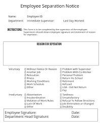 Separation Notice Employee Separation Notice Template Postermywall