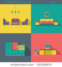 creative furniture icons set flat design. Creative Design Furniture Icons Set. Interior Long Shadow Style. Vector Collection. Home Set Flat I