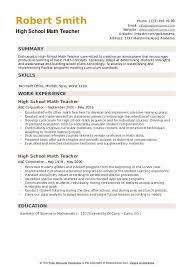A High School Resume High School Math Teacher Resume Samples Qwikresume