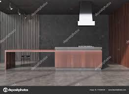 Beton Und Schwarzem Holz Esszimmer Bar Stockfoto