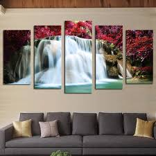 unframed 5 pcs red trees waterfall picture print painting modern canvas wall art for wall decor