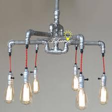 edison style lighting fixtures. Handmade Pipe And Edison Bulbs Chandelier 8823 Style Lighting Fixtures