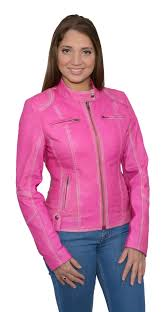 milwaukee leather shaf women s pink sheepskin leather scuba style motorcycle jacket pink size s com