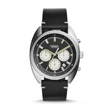 fossil ch3043 drifter chronograph black leather watch