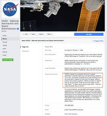 how to write an awesome and succinct facebook bio snapshot of nasa s facebook bio milestones page