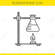 Chemical Reaction Linear Icon Thin Line Illustration Ring Stand