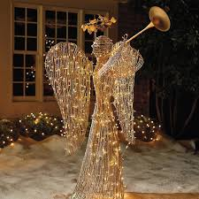 lighted rattan trumpet angel outdoor decorations traditional outdoor holiday decorations by frontgate