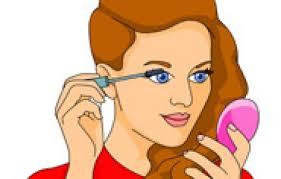 cartoon putting on makeup