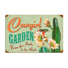 garden sign. Cowgirl Garden Boots To Roots Vintage Metal Sign