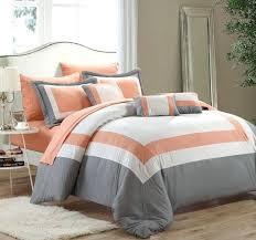 top rated burnt orange comforter set brilliant orange and grey bedding