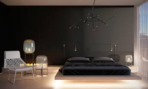 over the bed lighting. Black Minimalist Bedroom Design Over The Bed Lighting E