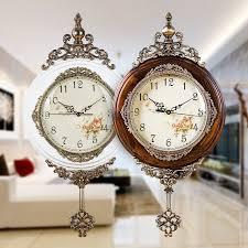 classical wooden wall clocks european antique pendulum decor clock of silent quartz movement art edge wall
