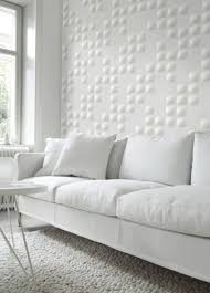 Wall Panelling Living Room White Minimalist Small Living Room With Emboss Effect Square