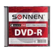 <b>Диск DVD</b>-<b>R SONNEN</b>, 4,7 Gb, 16x, <b>Slim</b> Case (1 штука) – купить ...