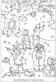 Small Picture Children catching leaves in autumn coloring page Per acolorir