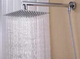 bathroom rain shower head set wall mounted brass arm square stainless steel hose