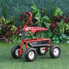 outsunny adjustable rolling garden cart