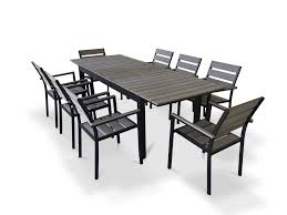 rustic gray dining table. 9 Piece Eco-Wood Extendable Outdoor Patio Dining Set - Rustic Gray Table B