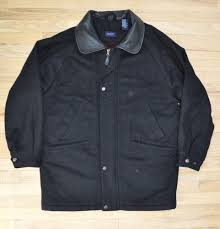 details about black wool park avenue coat leather collar jacket peacoat gant usa lined large