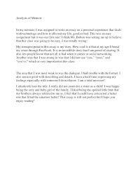 Memoir Essays Examples Sample Memoir Essay College Memoir Essay