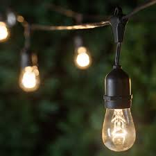 patio lights. Patio Lights - Commercial Clear String Lights, 24 S14 E26 Bulbs Black Wire T