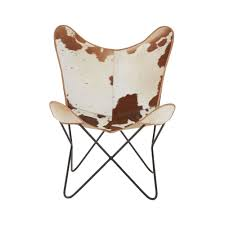 lx interiors brown cow hide leather erfly chair with iron frame