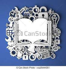 open book icon on handmade paper decoration csp20444351