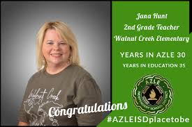 "Azle ISD on Twitter: ""Join us in congratulating Walnut Creek second grade  teacher Jana Hunt on her retirement. Congrats, Mrs. Hunt!… """