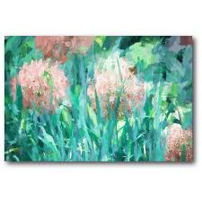 fields of bloom mint pink on mint green canvas wall art with courtside market 24 in x 36 in fields of bloom mint pink