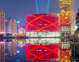 led studded han show theater lights up like a traditional chinese paper lantern in wuhan inhabitat green design innovation architecture