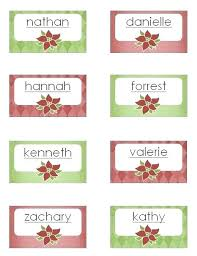 Dinner Name Card Template Christmas Dinner Place Cards Template Free
