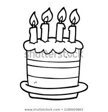 Line Drawing Cartoon Birthday Cake Stock Illustration Royalty Free