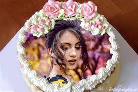 happy birthday flower cake with photo edit