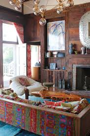Cool ManCaves - Stunning throw back boho modern living space! Patterned  couch is to die for!