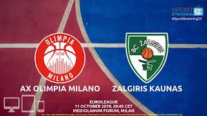 AX Olimpia Milano v Zalgiris Kaunas Live Stream | Euroleague