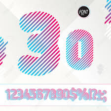 flyers numbers dj style numbers striped colorful alphabet with gradient best