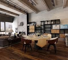 minimalist modern industrial office desk dining. Apartment:Lovely Industrial Apartment With Dark Wood Floor And Minimalist Furniture Set Stupendous Open Modern Office Desk Dining W
