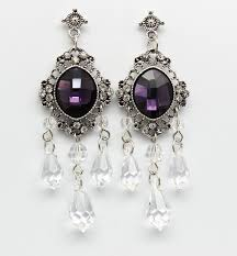 eggplant amethyst chandelier earrings purple bridal victorian style antique silver plated filigree wedding jewelry hollywood chic jewelry