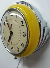 vintage art deco chrome yellow ge telechron 2h09 kitchen clock ebay on art deco wall clock ebay with 3406 best the hours images on pinterest antique clocks antique