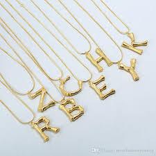 whole 2018 new arrival 26 letter shape necklace fashion golden english alphabet pendant necklace gold snake chain letters statement necklace cat pendant