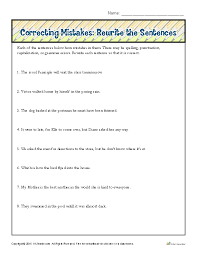 Correcting Mistakes: Rewrite the Sentences | Proofing and Editing ...