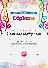 Diploma Color Full Template And Chart Borders Stock Vector